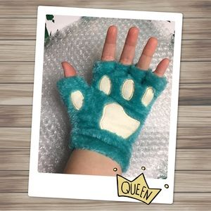 Blue Bear Fingerless Paw Gloves